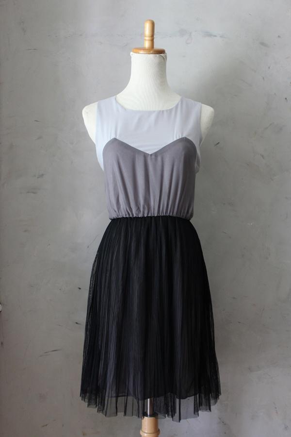 Misty Fog Dress - $48 Gray colorblock dress with sweetheart neckline and full tulle skirt