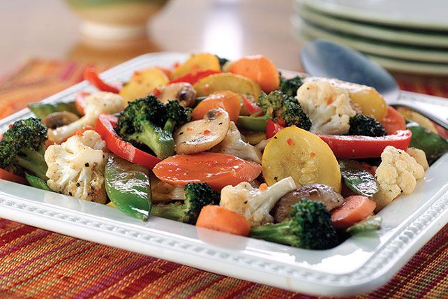 A colorful medley of eight different vegetables is sautéed until crisp-tender, then seasoned with red wine vinegar and Italian salad dressing mix.