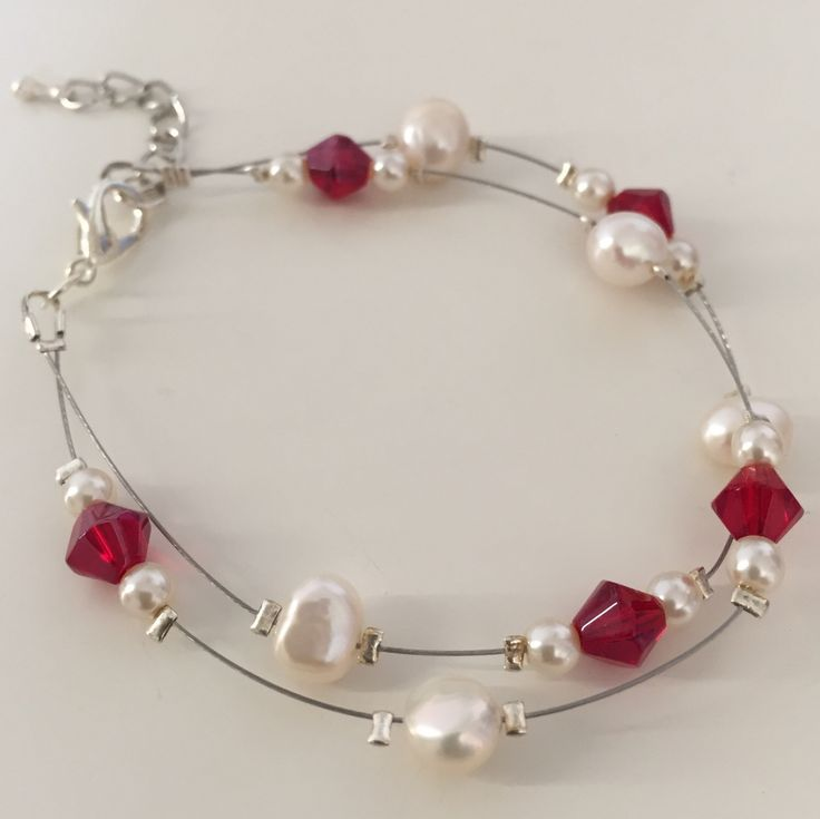 Lily, Bracelet (White/Red) by MrsGillmore on Etsy https://www.etsy.com/listing/254049143/lily-bracelet-whitered