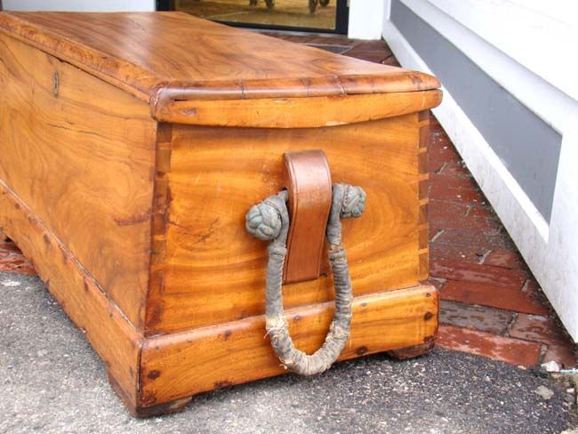 click to view larger image of an outstanding early 19th century double canted campforwood chest