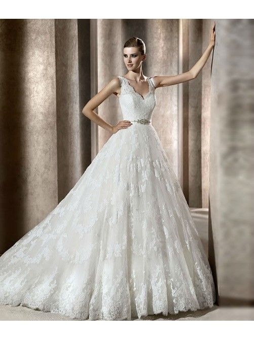 Lovely Strapless Straps V-neck Lace Wedding Dress