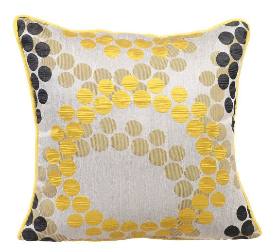 Yellow Polka - 16 x 16 Silk Jacquard Patterned throw pillow.