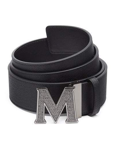 MCM Men's Be Jeweled M-Buckle Leather Belt