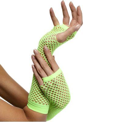 Neon kleding bij warenhuis Trendmax, Feestartikelen Visnet handschoenen groen,fishnet,gaatjes,gloves,green,groen,groene,neon,net,nethandschoen,nethandschoenen