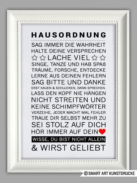 """Originaldruck - """"HAUSORDNUNG"""" Kunstdruck - ein Designerstück von Smart-Art-Kunstdrucke bei DaWanda"""