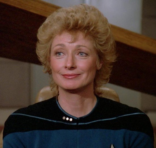 "Diana Muldaur as Dr. Katherine Pulaski in the second season of ""Star Trek: The Next Generation"" 1988-89."