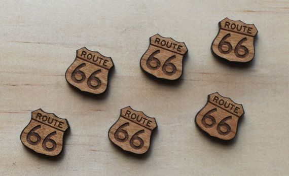 6 Cherry Wood Route 66, lasercut wood