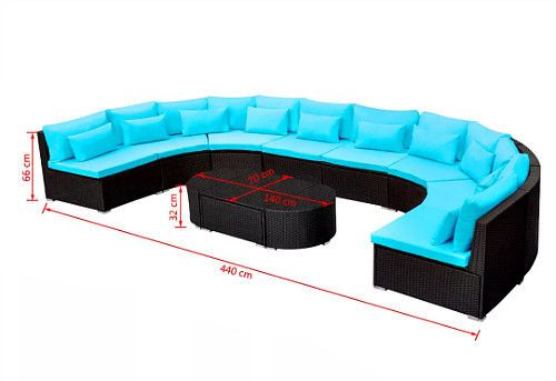 Outdoor Sectional Sofa Set Extra Large Black Rattan Patio Furniture Pool Lounge #VXLDealsMarket