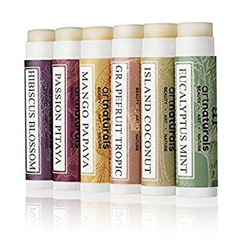 ArtNaturals Natural Lip Balm Beeswax, Assorted Flavors 0.15oz Each-Best Chapstick for Dry, Chapped and Cracked Lips-Lip Repair and Therapy with Aloe Vera, Coconut, Castor and Jojoba Oil, Pack of 6