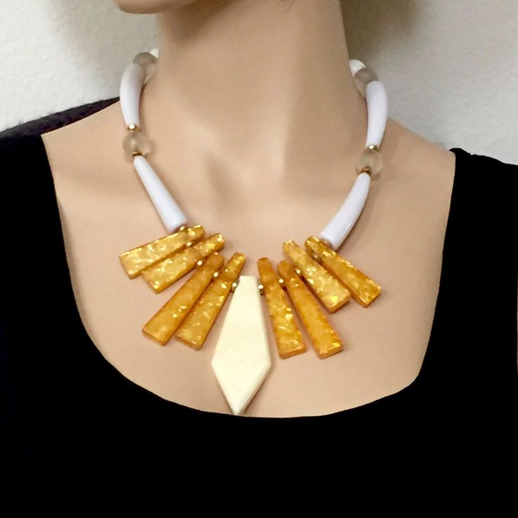 Luciana! Big Necklace, Italian Statement Necklace - Unique Jewelry Gift for Her, Vintage Yellow Necklace by mytimevintage on Etsy https://www.etsy.com/listing/384636680/luciana-big-necklace-italian-statement