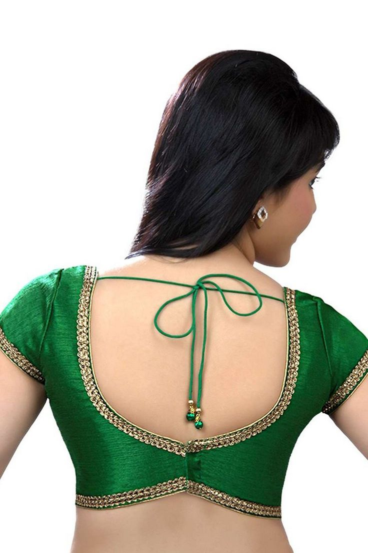 Dark #green raw #silk exquisite casual wear #blouse with cap sleeves -BL597
