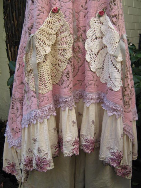 Vintage Kitty.. Lily Hannah.. upcycled floral cloth.. dusky pink, crochet, doilies.. tunic... hand dyed..  tunic.. MED - XL