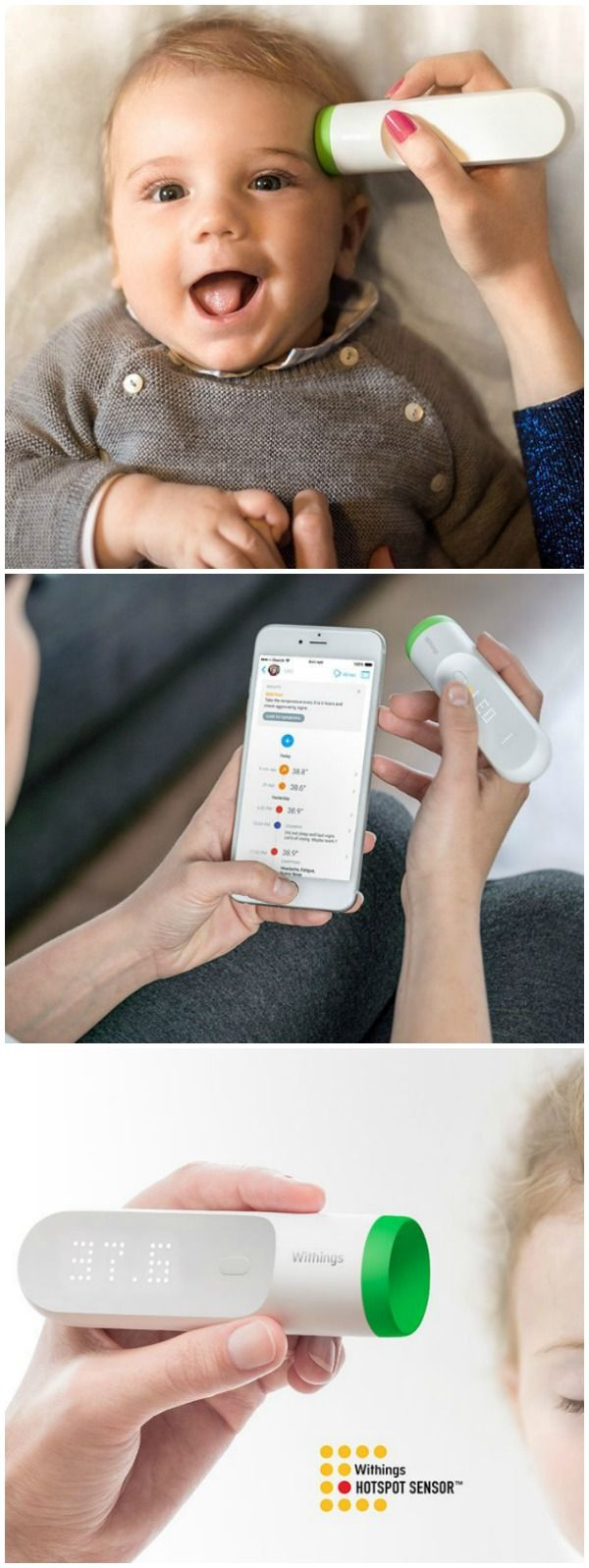 Withings Thermo is a hygienic, easy-to-use, temporal thermometer featuring 16 infrared sensors that take 4,000 measurements in just 2 seconds to provide a highly accurate result.