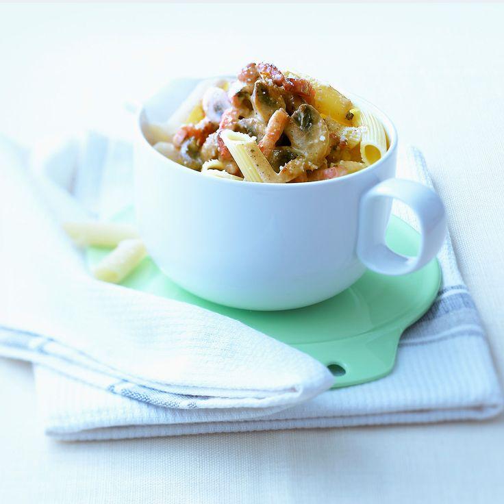 Découvrez la recette Penne sans gluten aux champignons sur cuisineactuelle.fr.