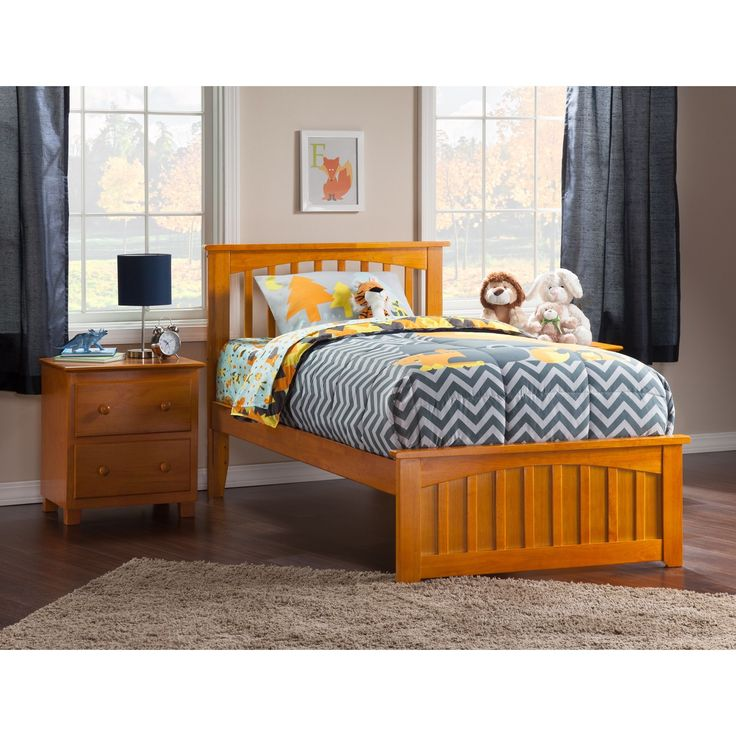 atlantic furniture mission twin xl bed with matching foot board in caramel latte size