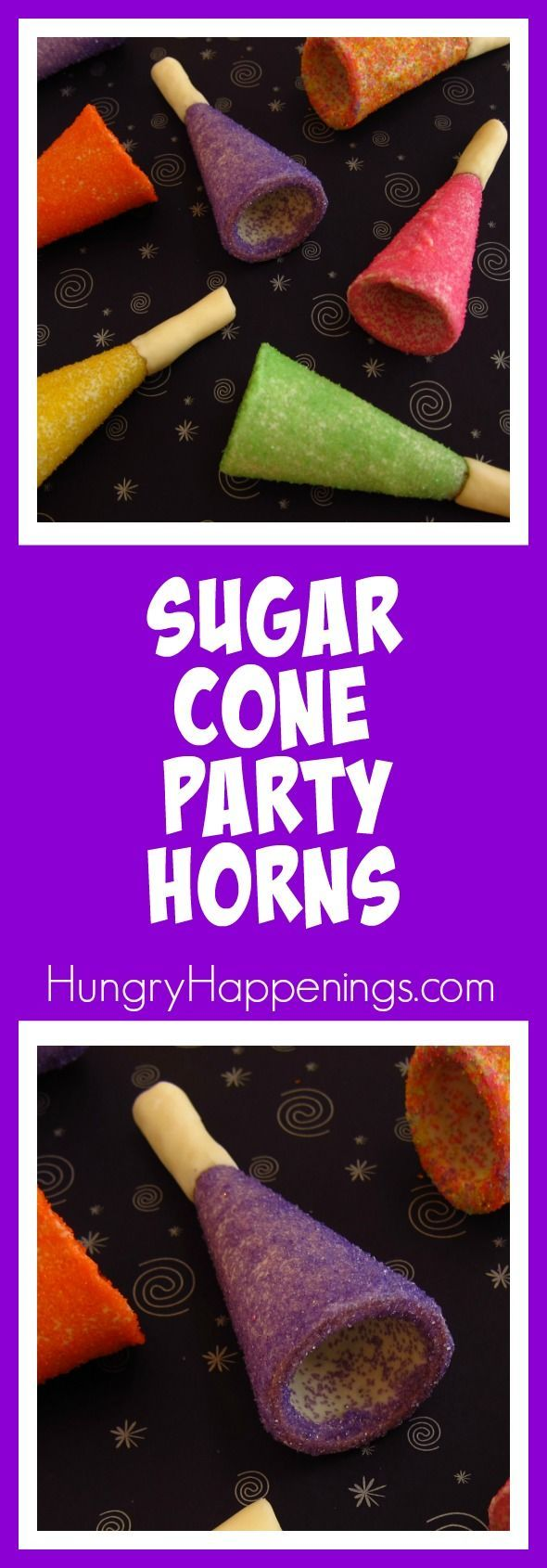 Turn store bought ice cream cones into brightly colored Sugar Cone Party Horns for your New Year's Eve celebrations. They are as fun to make as they are to eat and will bring the kid out in everyone.