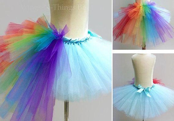 Falda de tutú arcoiris adultos con el bullicio de la cola
