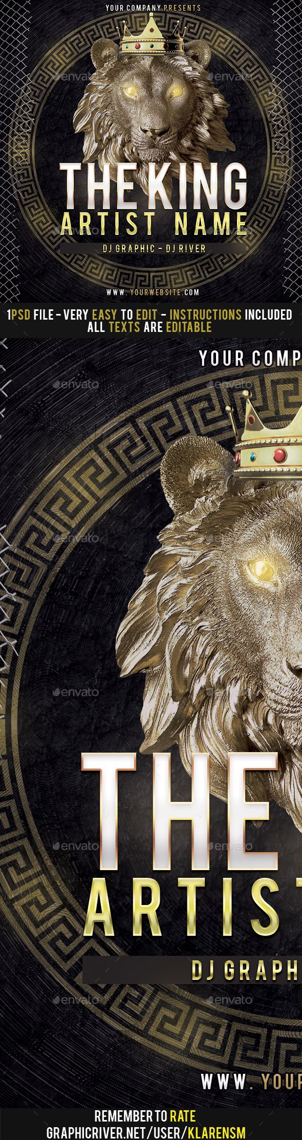 Lion Mixtape Album CD Cover Template