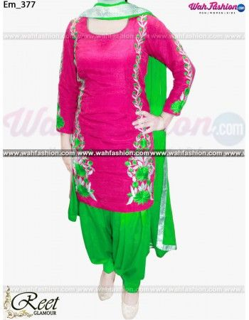Give yourself a stylish & designer look with this Tempting Rose Pink And Green Embroidered Punjabi Suit. Embellished with Embroidery work and lace work. Available with matching bottom & dupatta. It will make you noticable in special gathering. You can design this suit in any color combination or on any fabric. Just whatsapp us for more details.  For more details whatsapp us: +919915178418