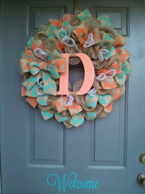 Burlap Teal and Coral chevron monogram wreath