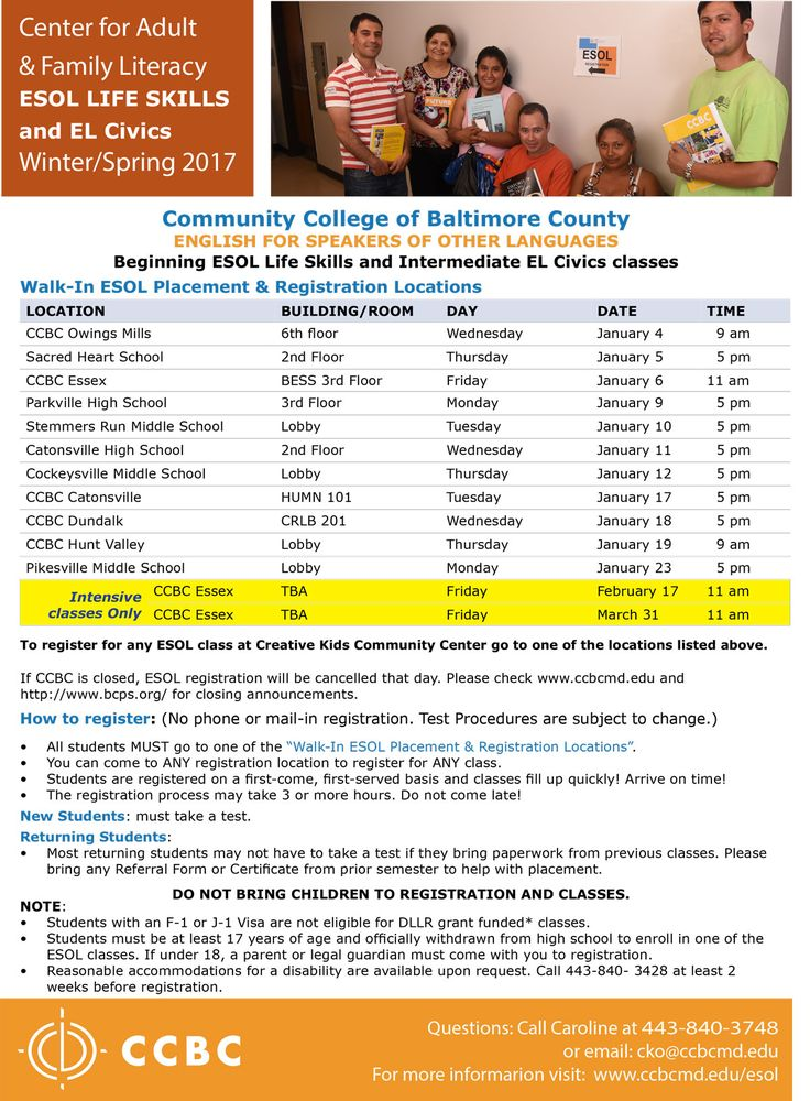 Winter-Spring 2017 Registration dates for ESOL Life Skills classes. English for Speakers of Other Languages.