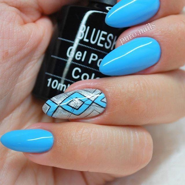 Piekny blekit, jak wiosenne niebo  A101 @blueskypolska  I male geometryczne zdobienie  #nailart #nailsoftheday #nails2inspire #instanail #blueskypolska #hybrydnails #hybrydymanicure #niebieskiepaznokcie #blekit #kolory #bluenails #piekne #paznokciehybrydowe #paznokcie #pazurki #pazurkihybrydowe #geometricnails #geometryczne #inspiracjepaznokciowe #handmade