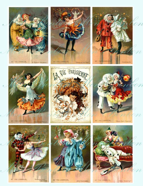 Digital Collage Sheet of Vintage Carnival Images - INSTANT DOWNLOAD