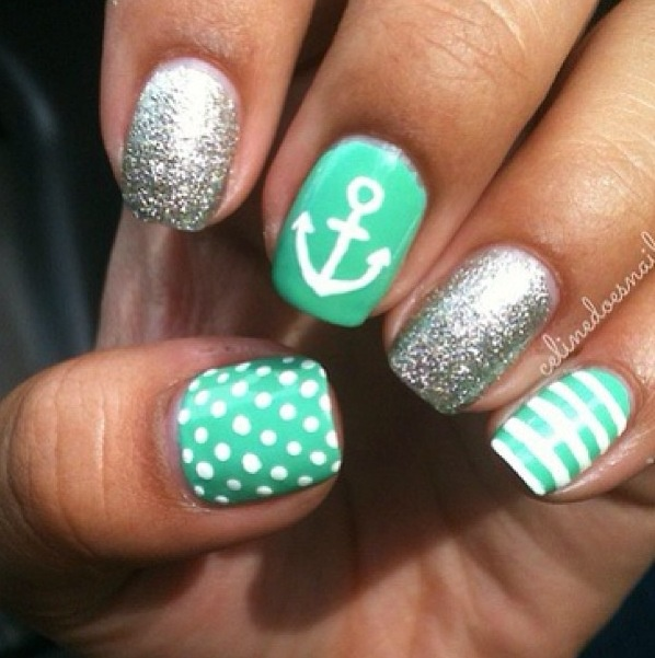 Love these teal #nautical nails! #GoCoast