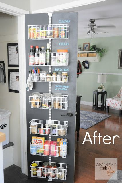 These homeowners used chalkboard paint behind hanging shelves to create customizable labels for their storage space. Click through for more on this and other smart pantry organization and storage ideas.