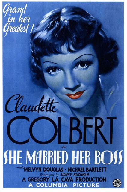 Claudette Colbert in She Married Her Boss (1935). 1930s Vintage Movie Poster.