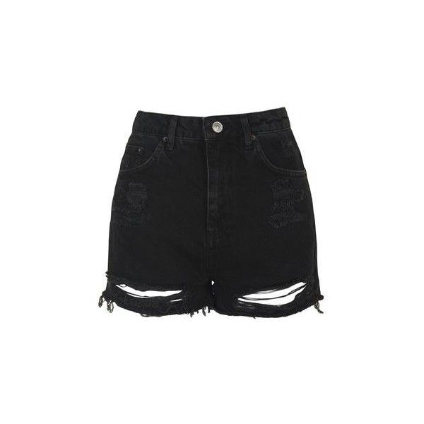 TopShop Tall Moto Ripped Mom Shorts ($44) ❤ liked on Polyvore featuring shorts, washed black, high-waisted shorts, destroyed denim shorts, high-rise shorts, distressed denim shorts and high rise jean shorts