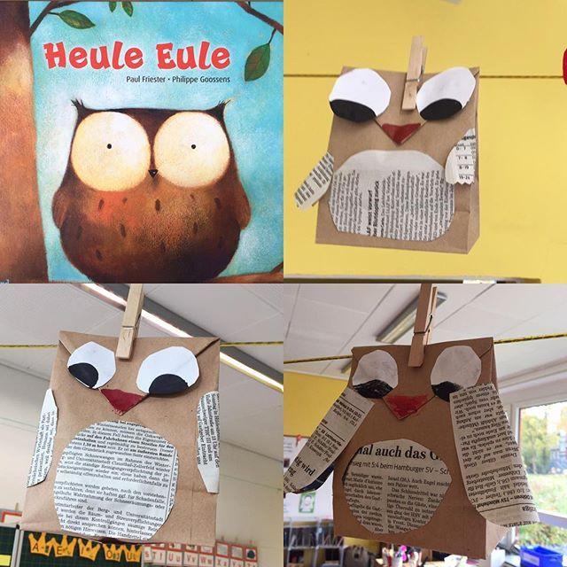 """Heute habe ich den Kindern die """"Heule Eule"""" vorgelesen und anschließend haben wir sie gebastelt! #heuleeule #eulen #basteln #papiertütenmalanders #zweiteklasse #Unterrichtsideen #grundschullehrerin #grundschule #grundschulideen #froileinskunterbunt"""