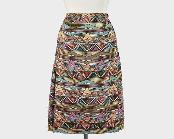 Aljean Vintage 1980s Pleated Wrap A-Line Skirt Multiple Muted