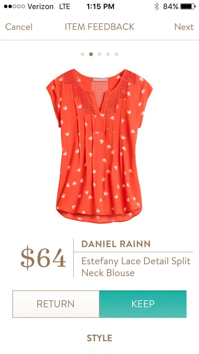 Daniel Rainn Estefany lace detail split neck blouse April 2016
