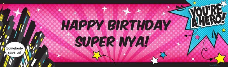 Superhero Girl Personalized Text Banner from BirthdayExpress.com