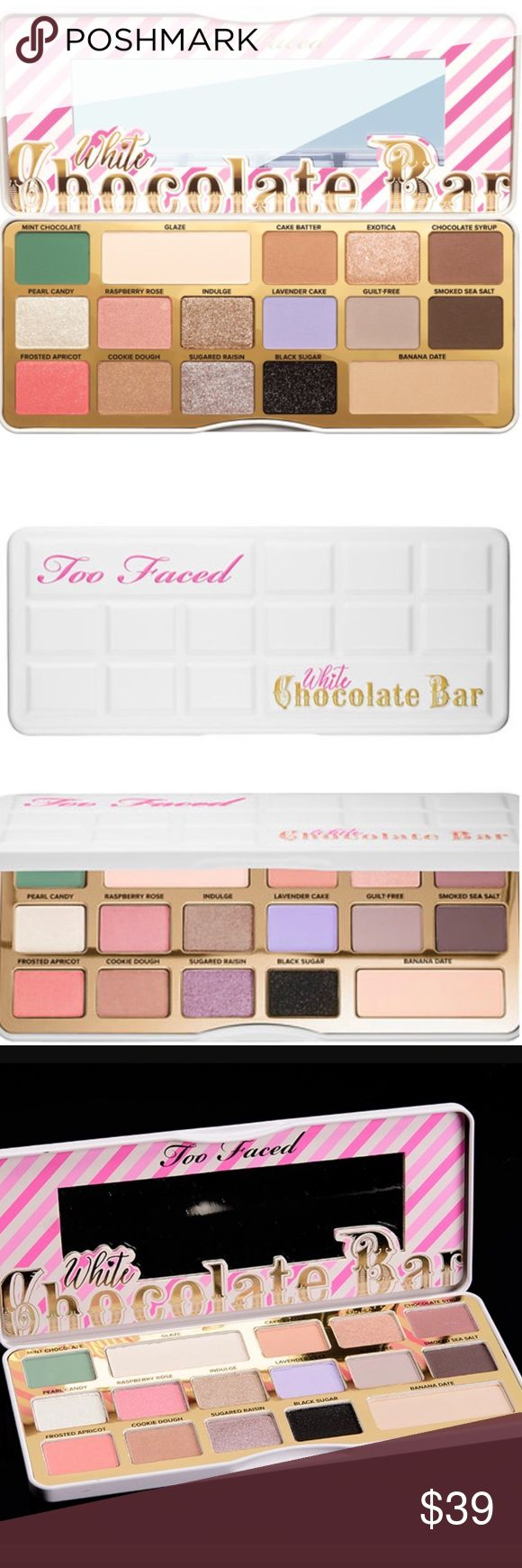 Too Faced White Chocolate Eyeshadow Palette New Too Faced White Chocolate Eyeshadow Palette  Authentic New. This is absolutely beautiful and smells delicious. You can create many looks with this easy blended assortment of gorgeous shadows. You won't be disappointed. I love the one I have. :) Sephora Makeup Eyeshadow