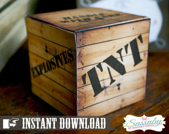 TNT Gift Box Wild West Cowboy  INSTANT DOWNLOAD  by Sassaby