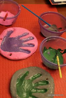 Salt dough hand print ornaments