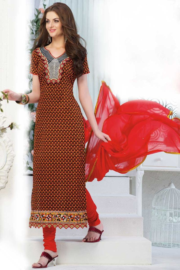 Andaaz Fashion presents new arrival designer semi stitched Black Red Churidar Suit with Red Chiffon Dupatta with Short Sleeve, Below Knee Length, Asymmetrical Neck Kameez. Embellished with Resham, Stone, Embroiderey with price $54.69.  http://www.andaazfashion.us/black-red-churidar-suit-with-red-chiffon-dupatta-dmv13278.html