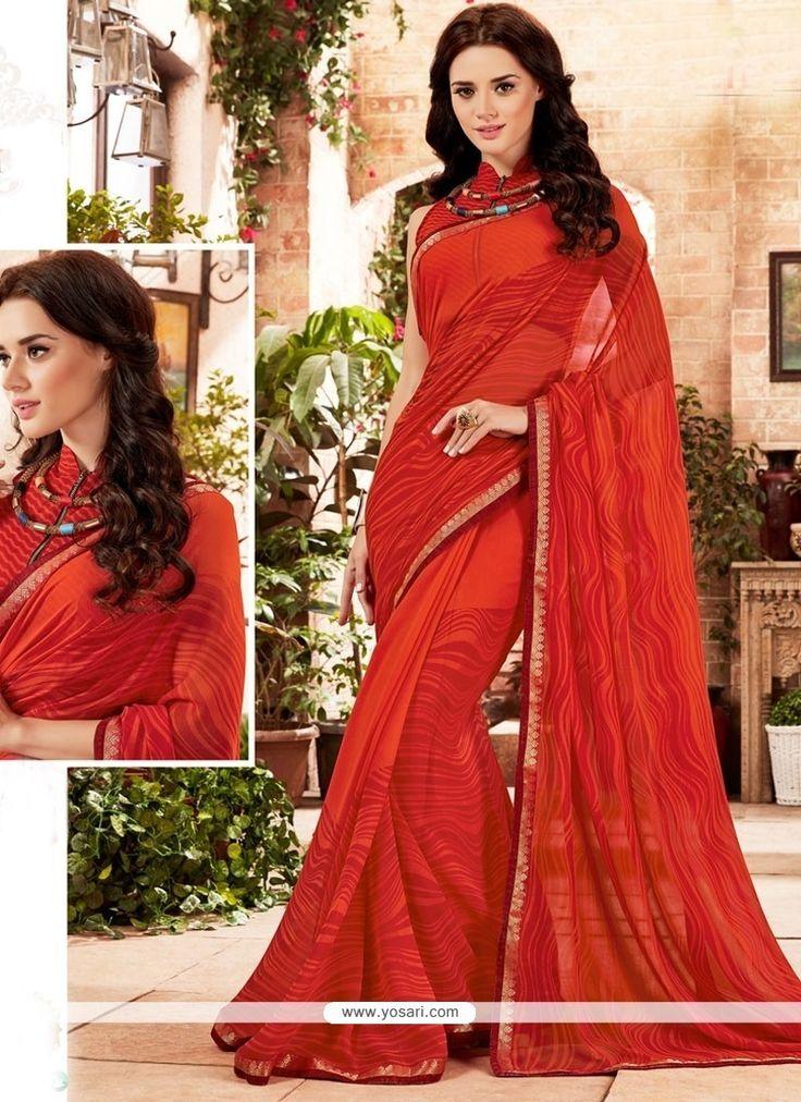 Baronial Georgette Red Printed Saree Model: YOSAR9703
