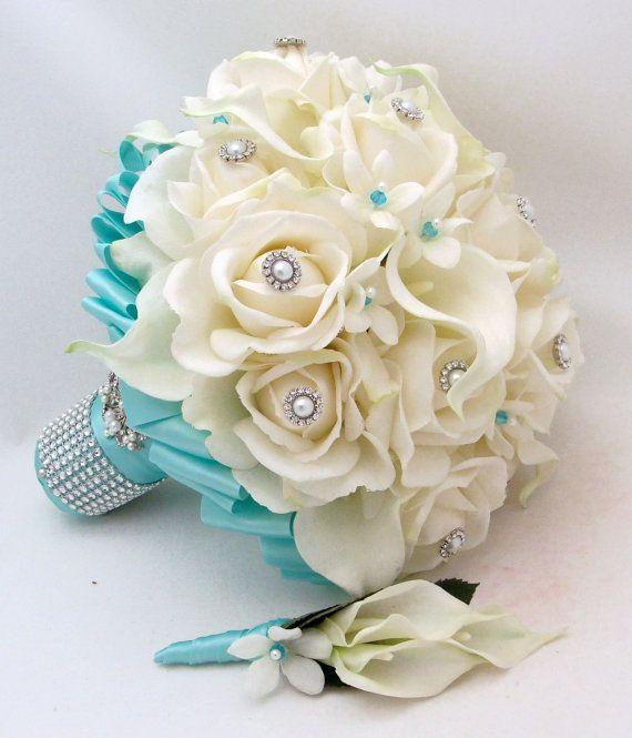 Bouquet Sposa Tiffany.Bridal Bouquet Stephanotis Roses Calla Lily Tiffany Blue Ribbon