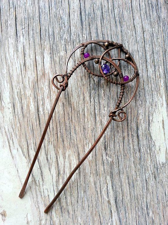 Hair fork Oxidized Brass hair accessories!!! brass antique hair fork with spiral design handmade hair accessories