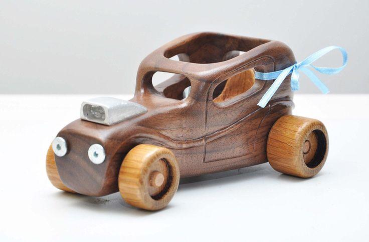 Coche de madera coche personalizado juguete de madera de