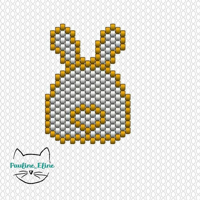 WEBSTA @ pauline_eline - Le diagramme du lapin coeur! 🐰🐰🐰 Bonne journée les gens! 😊 #jenfiledesperlesetjassume #miyukibeads #miyuki #diagrammeperles #beadpattern #pattern #lapin #bunny #rabbit #coeur #heart #motifpauline_eline #brickstitch