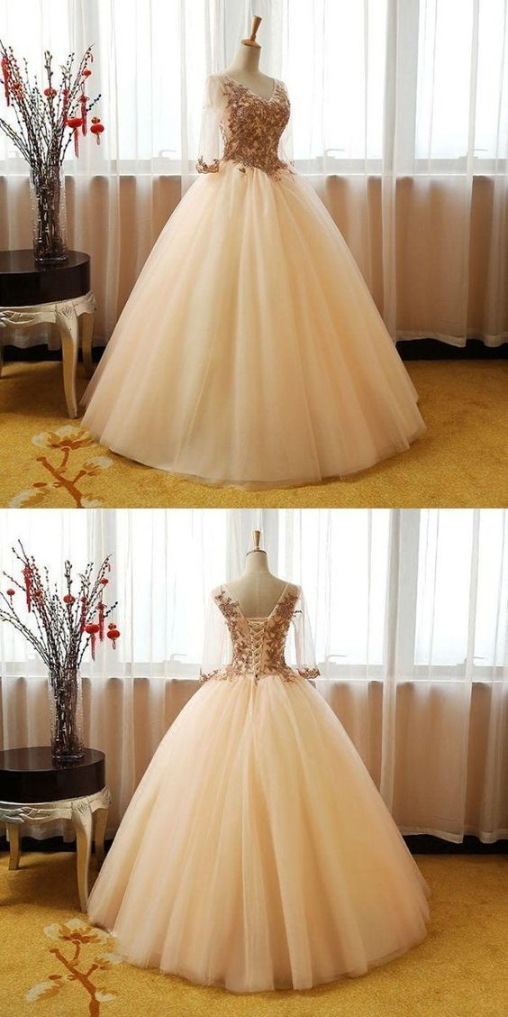 cb6605f6e27 Elegant V-Neck Tulle 3 4 Sleeves Appliqued Long Prom Dresses