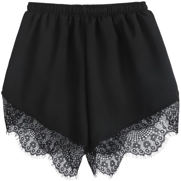 SheIn(sheinside) Black Elastic Waist Contrast Lace Shorts ($11) ❤ liked on Polyvore featuring shorts, bottoms, pants/shorts, lacy shorts, black shorts, loose fit shorts, lace shorts and elastic waistband shorts
