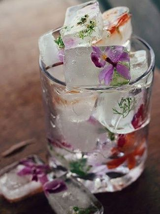 A beautiful detail for your favorite cocktail; just make sure you only use edible flowers or herbs.