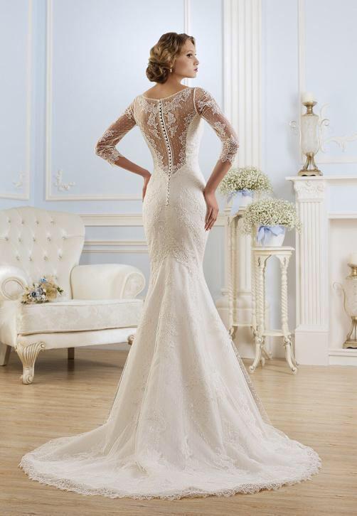 Elegante mermaid trouwjurk van kant met sexy kanten rug