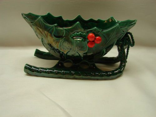 Vintage lefton holly berry ceramic sleigh candy dish