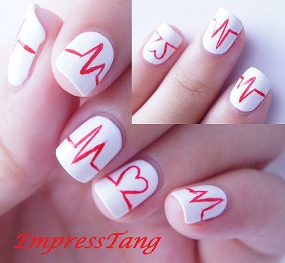 heartbeatHeartbeat Nails, Nails Art, Valentine Day, Beats Heart, Nurs Nails, Heartbeat 3, Nursing Schools, Valentine Nails, Heart Beats